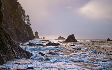 Crashing waves amazing sunset sky at La Push Beach in Olympic National Park  Stock Photo - 13165014