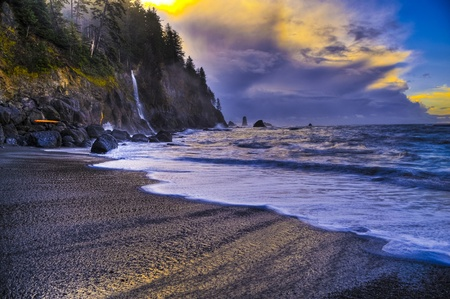 Crashing waves amazing sunset sky at La Push Beach in Olympic National Park  photo