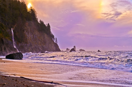 Crashing waves amazing sunset sky at La Push Beach in Olympic National Park  Stock Photo - 13165103