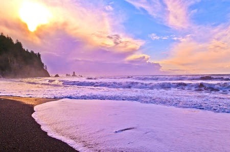Crashing waves amazing sunset sky at La Push Beach in  National Park Stock Photo - 13165030