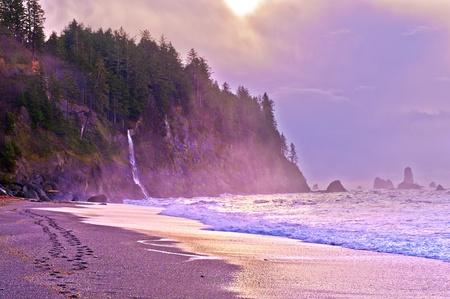Crashing waves amazing sunset sky at La Push Beach in  National Park Stock Photo - 13165120