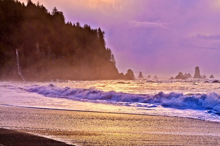 Crashing waves amazing sunset sky at La Push Beach in Olympic National Park  Stock Photo - 13165126