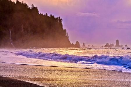 Crashing waves amazing sunset sky at La Push Beach in Olympic National Park Stock Photo - 13165126