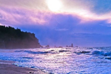 Crashing waves amazing sunset sky at La Push Beach in Olympic National Park Stock Photo - 13165078
