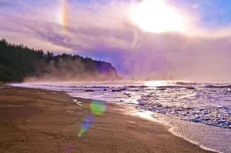 Crashing waves amazing sunset sky at La Push Beach in  National Park Stock Photo - 13165108