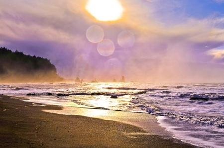Crashing waves amazing sunset sky at La Push Beach in Olympic National Park  Stock Photo - 13165091