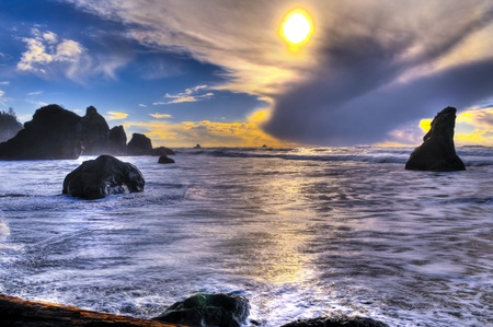 northwest: Rugged, rocky coast of Ruby Beach. Stock Photo