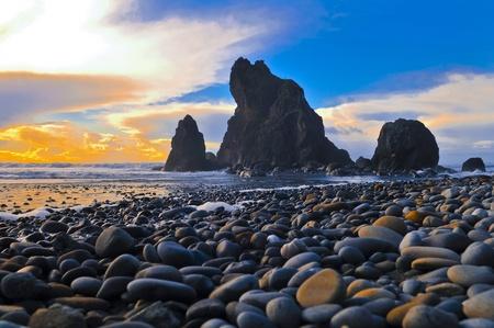 Rugged, rocky coast of Ruby Beach. photo