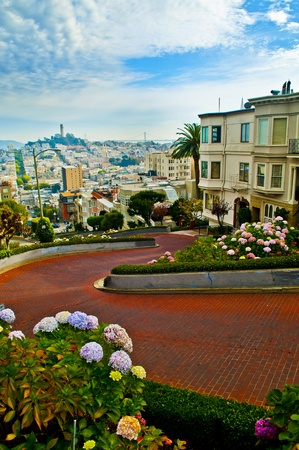 Dec 2 2010 San Francisco California Famous Lombard Street Stock Photo