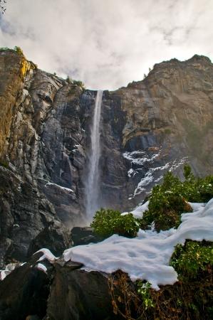 bridalveil fall: Bridalveil Fall in winter - Yosemite National Park California Stock Photo