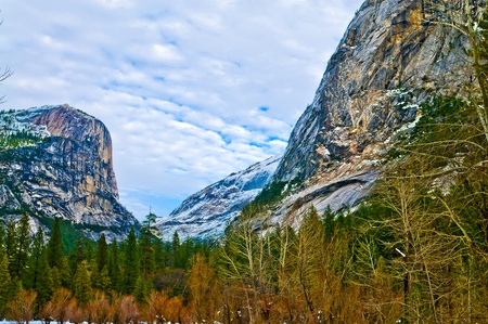 Beautiful Shot of a Mirror Lake Valley  in Winter - Yosemite National Park California photo