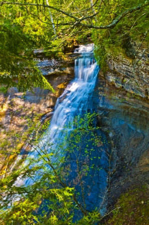 upper peninsula: Mosquito Falls in  Pictured Rocks National Lakeshore Michigan State