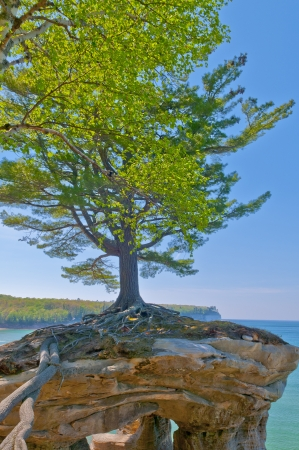 Chapel Rock on the trail to Mosquito Beach in Pictured Rock National Lakeshore  photo