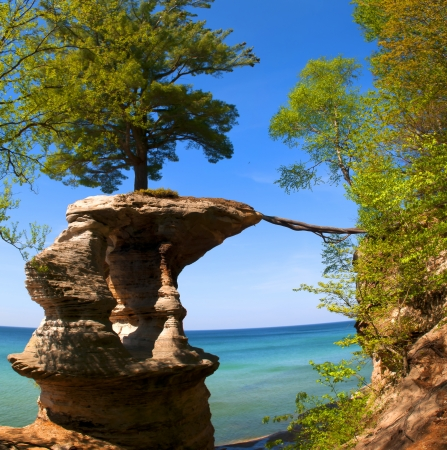 upper peninsula: Chapel Rock on the trail to Mosquito Beach in Pictured Rock National Lakeshore