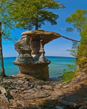 pictured: Chapel Rock on the trail to Mosquito Beach in Pictured Rock National Lakeshore
