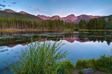 Stunning Sunrise at Sprague Lake in Estes Park Colorado photo