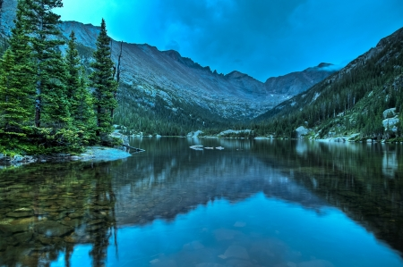 Early Morning with dramatic stormy sky at the Mills Lake - Rocky Mountains National  photo