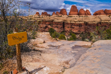 canyonlands: Sign on Elephant Hill 4x4 trail in Needles District Canyonlands Stock Photo