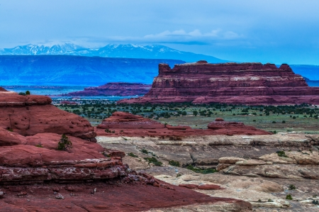 canyonland: Needles District at Sunrise as seen from the Pothole Point Trailhead Stock Photo