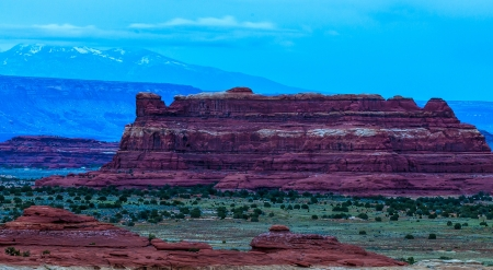 moab: Needles District at Sunrise as seen from the Pothole Point Trailhead Stock Photo