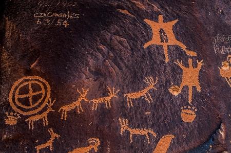 Close up shot of a Canyonlands - Needles District Petroglyphs