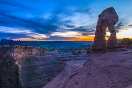 Delicate Arch against cool evening sky - Moab Utah photo