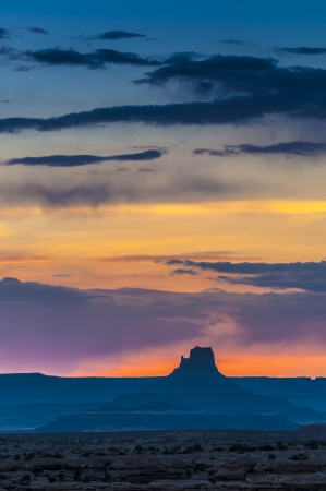 View of the Magnificent Sunset over Needles District taken from the Pothole Point Stock Photo