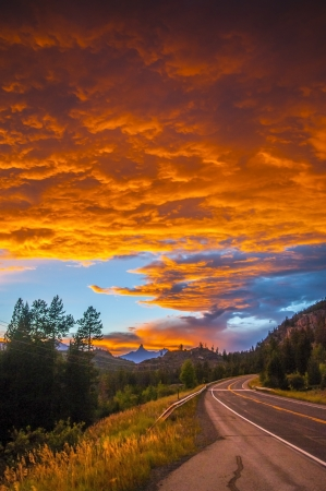 Dramatic Stormy Sky over Road 212 toward Yellowstone photo