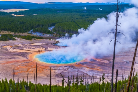 midway: Grand Prismatic Geyser at Sunset photographed from the Hill Stock Photo