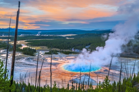 Grand Prismatic Geyser at Sunset photographed from the Hill Stock Photo