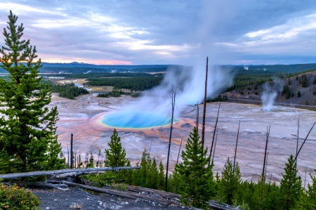 prismatic: Grand Prismatic Geyser at Sunset photographed from the Hill Stock Photo