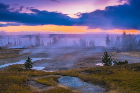 Beautiful Morning in West Thumb Geyser Basin with Yellowstone Lake in the bacground photo