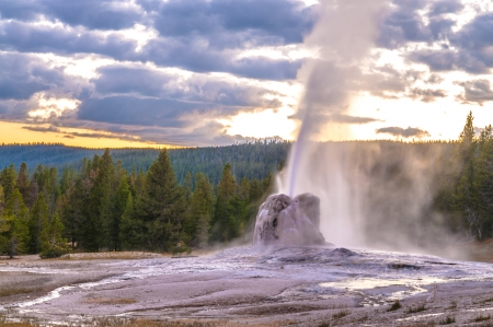 hot water geothermal: Spectacular Lone Star Geyser during Eruption - Yellowstone