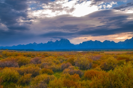 crown spire: Dramatic Sky over Grand Teton Peaks - Wyoming