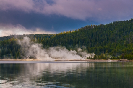 West Thumb Geyser Basin as seen from the Yellowstone Lake photo