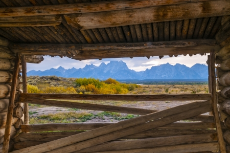 drudgery: View from the  inside of Cunningham Cabin