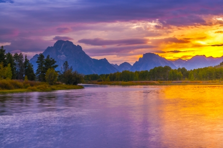 Amazing Sunset over Grand Tetons taken from the Oxbow Bend Turnout photo
