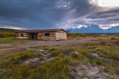 Double-pen log cabin in Grand Teton National Park Stock Photo - 23399780