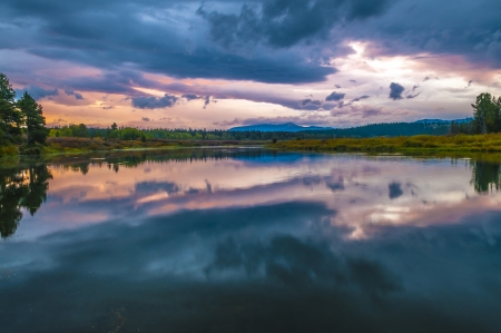 oxbow: Gorgeous Sunrise, reflection in the water - Grand Tetons Oxbow Point