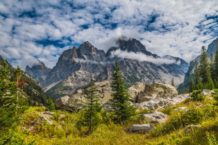 Spectacular View of the Grand Teton Peaks from the Cascade Canyon trail Stock Photo