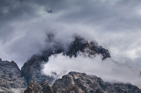 Dramatic Clouds over the mountain peaks - Grant Tetons photo