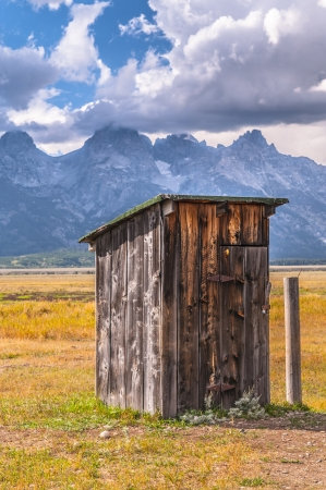 mormon: Outhouse in Mormon Row, with Teton Range in background