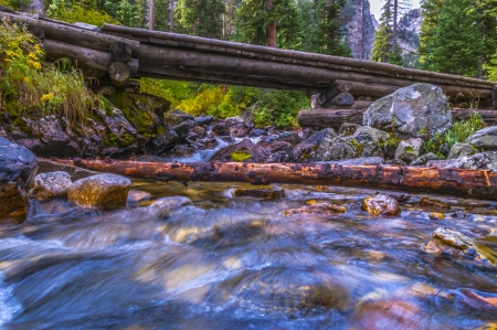 Footbridge on a Paintbrush Canyon Trail Grand Tetons photo