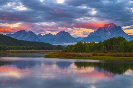 oxbow: Amazing Sunrise in Grand Teton National Park Stock Photo