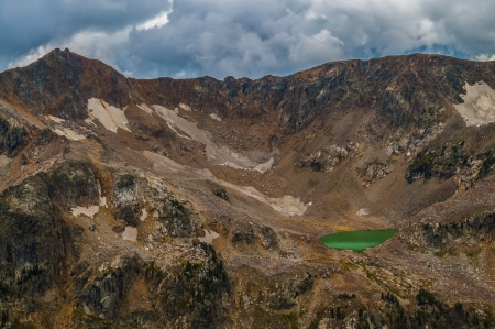 vanished: Mica Lake - glacial lake with turquoise coloring due to silt from the now vanished Petersen Glacier Stock Photo