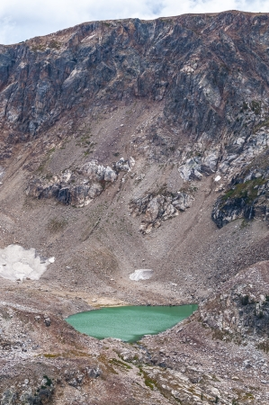 silt: Mica Lake - glacial lake with turquoise coloring due to silt from the now vanished Petersen Glacier Stock Photo
