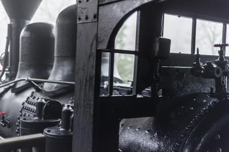 engine room: Inside View of vintage Steam Locomotive Stock Photo