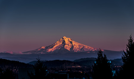 Mt Hood at Sunset with Portland City Center Stock Photo