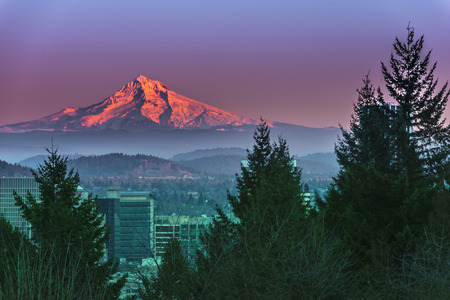 Mt Hood at Sunset with Portland City Center 版權商用圖片