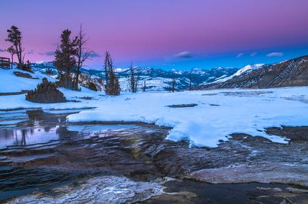 winter sunrise: Beautiful Winter Sunset in Yellowstone